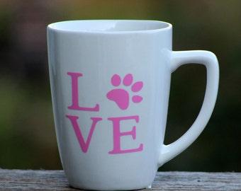Love paw print pet lover cup mug