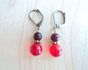 Cute red earrings. Glass bead dangling earrings.
