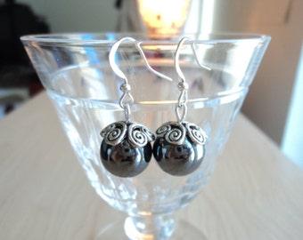 Hematite earrings. Earrings handmade. Dangling earrings.
