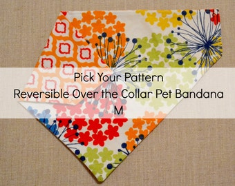 M Pick Your Pattern Reversible Over the Collar Pet Bandana