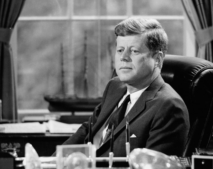 President John F. Kennedy at His Desk in the Oval Office - 5X7, 8X10 or 11X14 Photo (AZ-029)