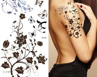 Supperb® Temporary Tattoos - Black Tribal Flower Tattoos