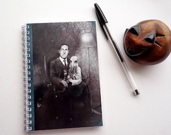 H.P. Lovecraft and Cthulhu - illustrated, laminated, notebook, handmade