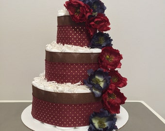 Burgundy Flower Diaper Cake