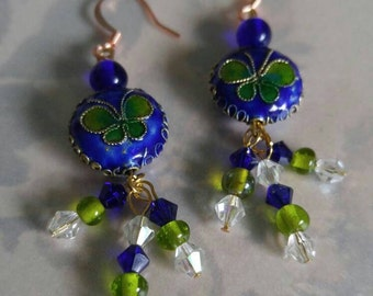 Swarovski Crystal and Cloisonne Butterflies Earrings