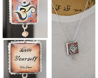 Charm/Yoga /Two Sides Unique/Dalai Lama/Inspirational/om symbol/Om/Quote/Inspiring/Soldered/Necklace/Ball Chain/Gift/Perfect Gift