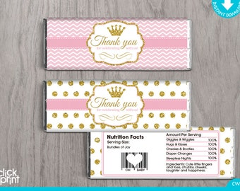 Baby Shower Pink And Gold Print Yourself Candy Bar Wrappers, Printable  Candy Wrappers, Printable