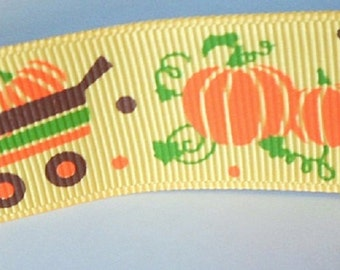 1 meter colored orange ribbon motif: Halloween pumpkins