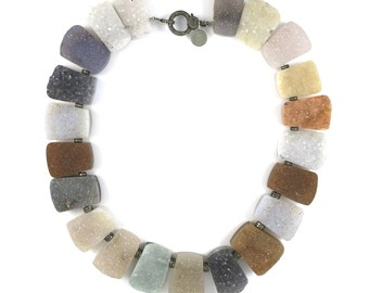 Druzy and diamond collar necklace