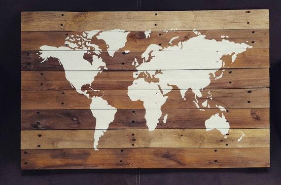 Robuuste wanddecoratie handgemaakte wereldkaart op sloophout for Pochoir sur bois
