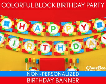 Colorful Block Birthday Party - Banner (Happy Birthday) NonPersonalized Printable // Colorful Block - B22Ni
