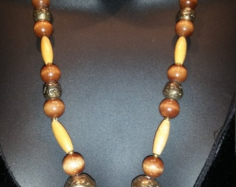 Vintage Bamboo and Brass necklace, 24 inches long