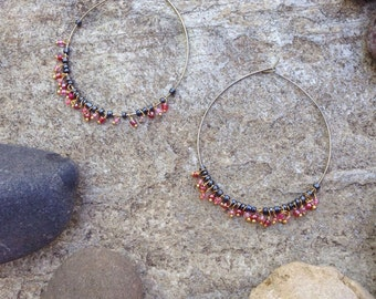 Large hoop earrings with small beads