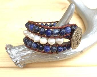 Stone Beads Fresh Water Pearls Cuff Bracelet Blue Sodalite Leather