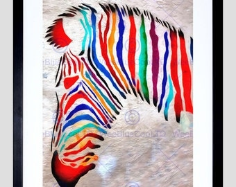 Animal Photo Painting Graffiti Psychedelic Zebra Head Art Print Poster FEHP1850