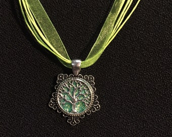 Tree of Life pendant on 45cm Organza Necklace