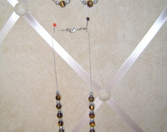 Tiger eye necklace and earrings set
