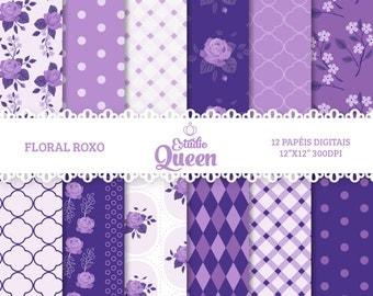 Digital Paper Shabby Chic Floral scrapbook background Flower Purple