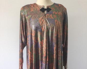 Vintage I.Magnin Golden Metallic Floral Hostess Caftan Maxi Dress
