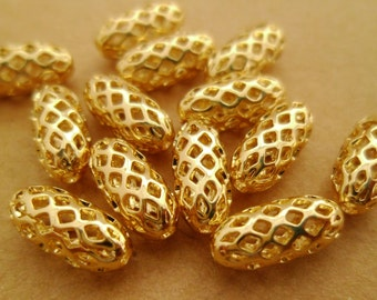 20pcs 11mm Premium Dlicate 14k Gold Plated Filigree Hollow Round Tube Beads Spacers