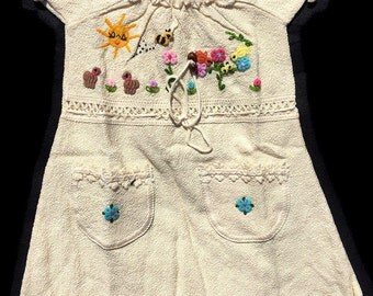 Little Girl Dress, Girl's Summer Dress, Traditional, Cotton, Embroidered Dress, Dress with Pockets
