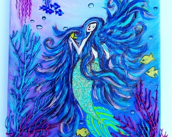 Canvas art for girls-Mermaid-purple-ocean-colorful-fish and mermaid-acrylic mixed media