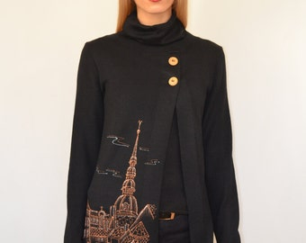 "Hand painted jacket - ""My city"",wool jacket,  Handmade wool jacket with hand painting"