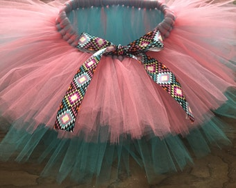 Aztec print ribbon tutu, pink and blue tutu