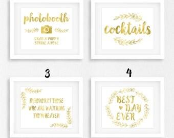 Gold Foil Wedding Sign Bundle, DIY Printable Instant Download, Buy More Save More, Wedding Ceremony Reception Sign, WSG2
