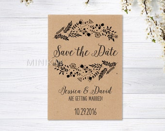 Floral Save The Date, Rustic Save The Date, Save The Date, 100% Recycled, Personalized Wedding, Save The Date, Ribbed Brown x 20