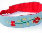 Embroidered Girl Headband / Blue and Red Henna Inspired Headband / Flower Headband / Made in NC