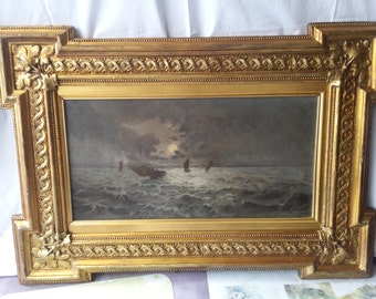 antique Flemish night on sea oil painting