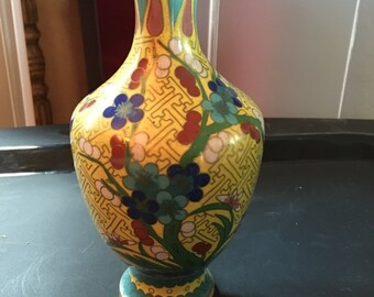 Metal Vase with enameled flower detail