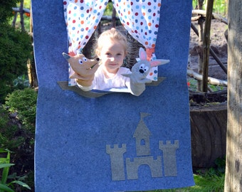 Doorway puppet theatre/ Children puppet theater/ Puppet show stage/ Pretend play/ Kids party decorations/ Felt puppets/ Puppet/ Home theater