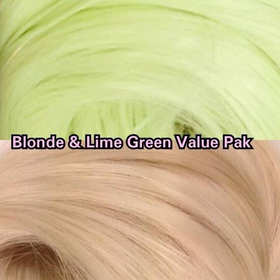Light Blonde & Lime Green 2 Hanks 4 oz Nylon rooting Doll Hair Value Pak for Custom Monster High, Ever After, Barbie, My Little Pony