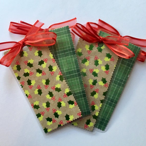 Holiday Mistletoe and Plaid Double-Sided Bookmarks with Festive Red Ribbon Bow - Perfect Gift or Stocking Stuffer!