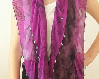 Handmade Purple Nuno Felted and Beaded Silk & Wool Scarf, Shawl