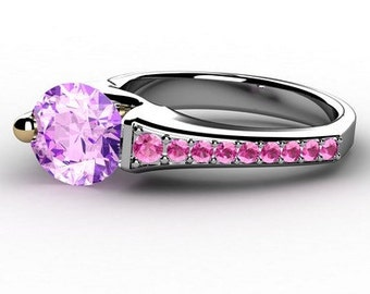 Amethyst and pink sapphire Floating Ring