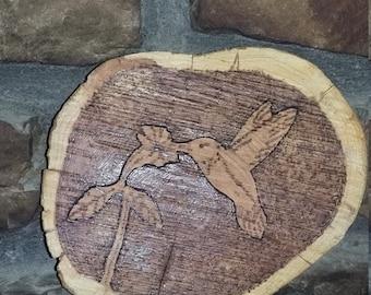 Hummingbird wood pyrography