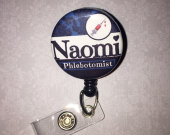 Personalized Badge Reel Phlebotomist