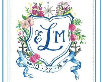 Watercolor Monogram Crest