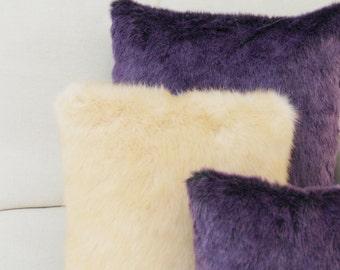 Cream Fur Cushion ,Cream Fur Pillow, Cream Accent Cushion, Cream Throw Pillow, Decorative Cushion, Fur Throw Pillow, Scandinavian Cushion