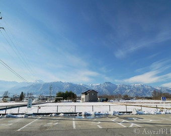 Mountain Range Photo, Wall Decor Canvas, Japanese Alps Landscape, Japan Winter Photo, Home Decor Landscape, Lustre, Metallic, 15x30