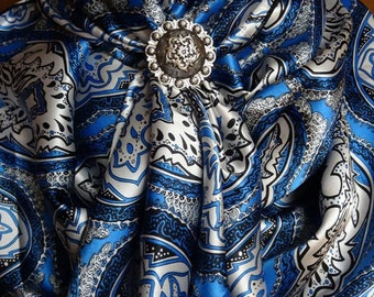 284silk - 100% SILK CHARMEUSE - Blue, Black & White