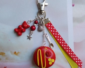 Bag / key macaroon lemon-strawberry, Fimo