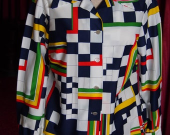 70's Abstract Geometric Polyester Shirt