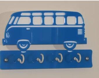 VW Campervan Key Ring Rack Blue