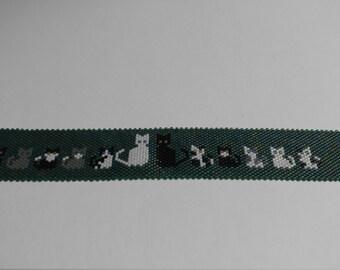 Peyote Cat Family Bracelet