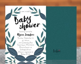 Green and Blue Leaf - Baby Shower Invite