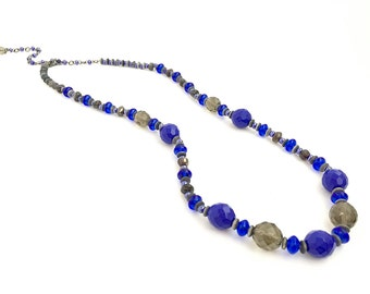 Cobalt Blue Grey Tribal Necklace Czech Fire Polished Bead Necklace Seed Bead Bohemian Necklace #9467NC